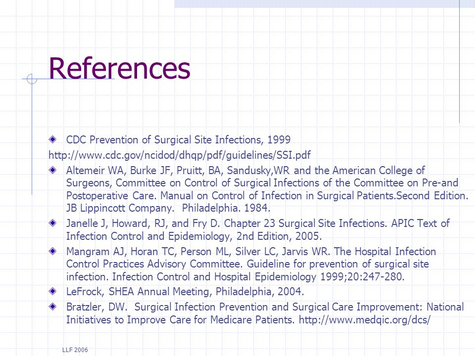 References CDC Prevention of Surgical Site Infections, 1999