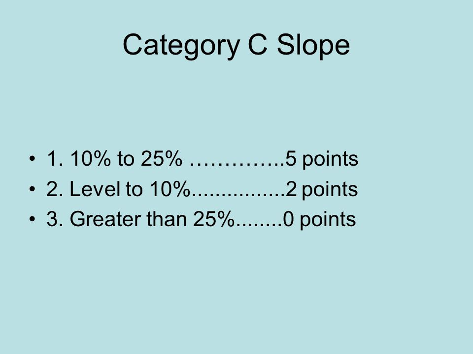 Category C Slope 1. 10% to 25% …………..5 points