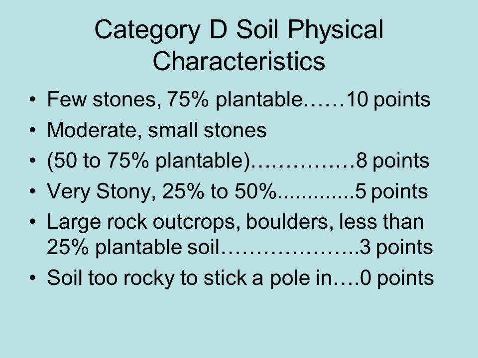 Category D Soil Physical Characteristics