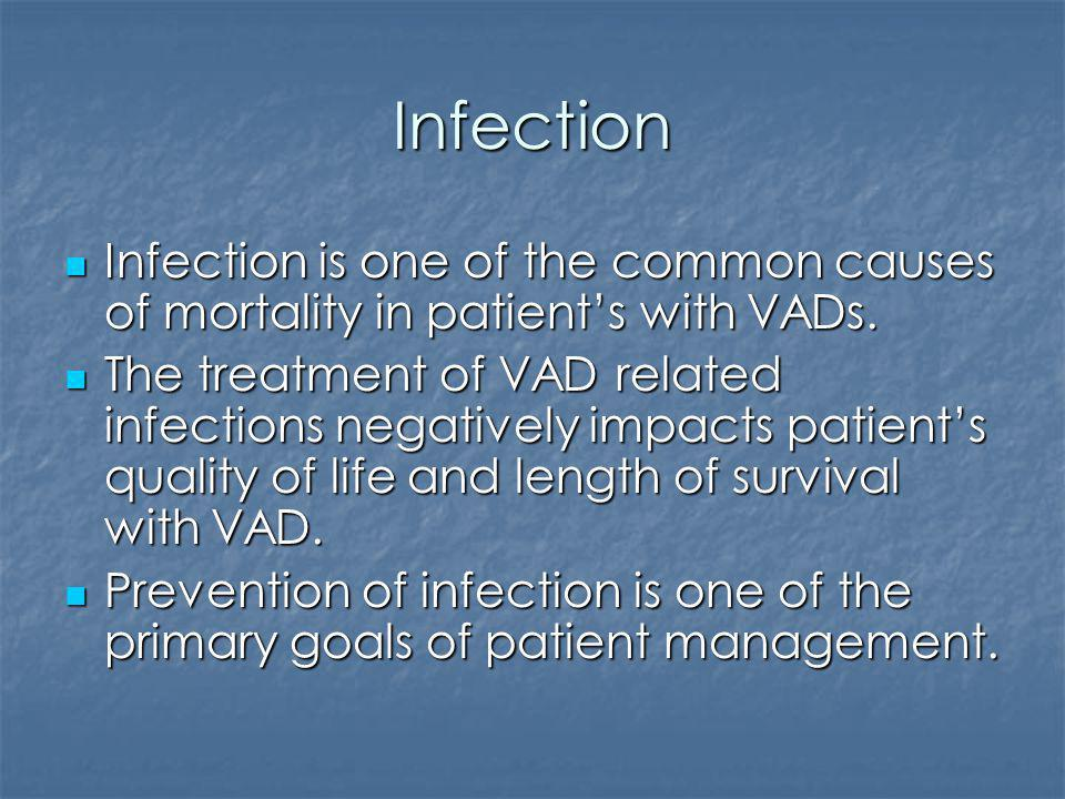 Infection Infection is one of the common causes of mortality in patient's with VADs.