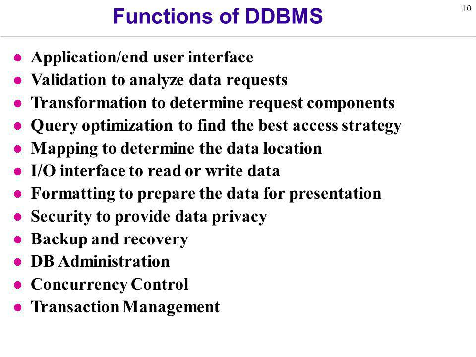 Functions of DDBMS Application/end user interface