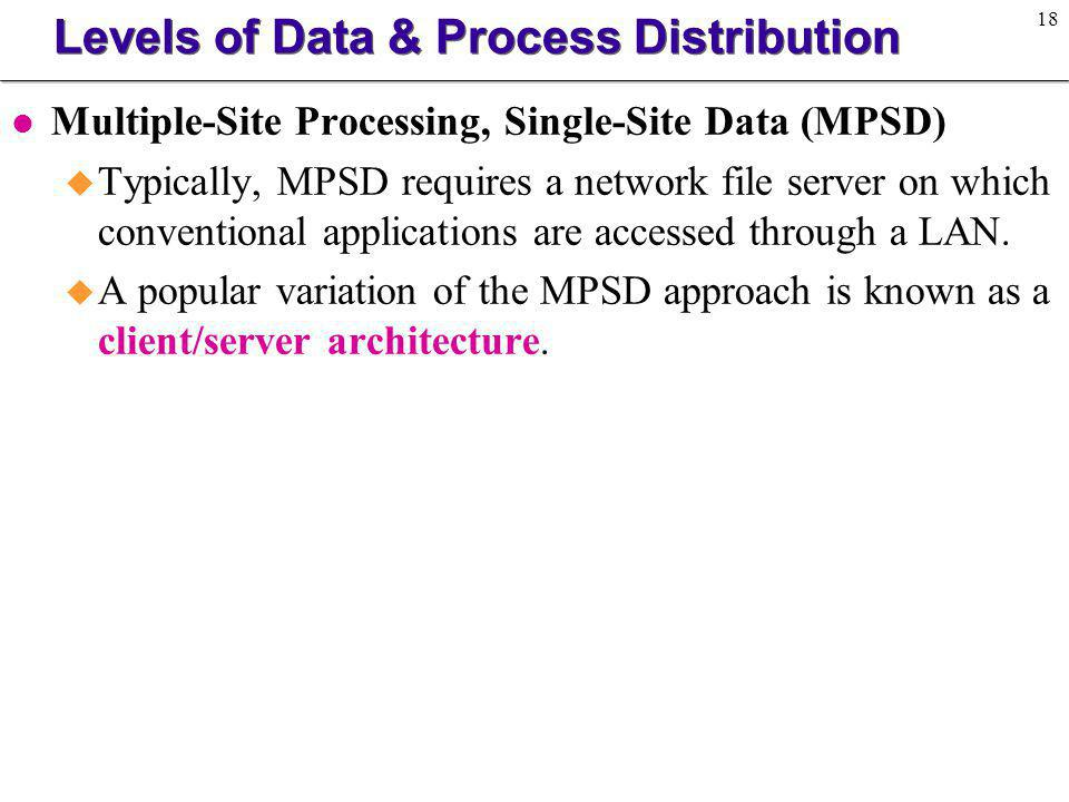 Levels of Data & Process Distribution