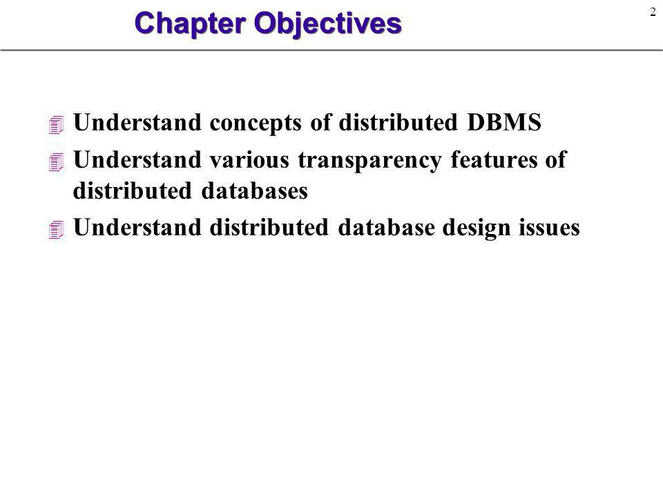 Chapter Objectives Understand concepts of distributed DBMS