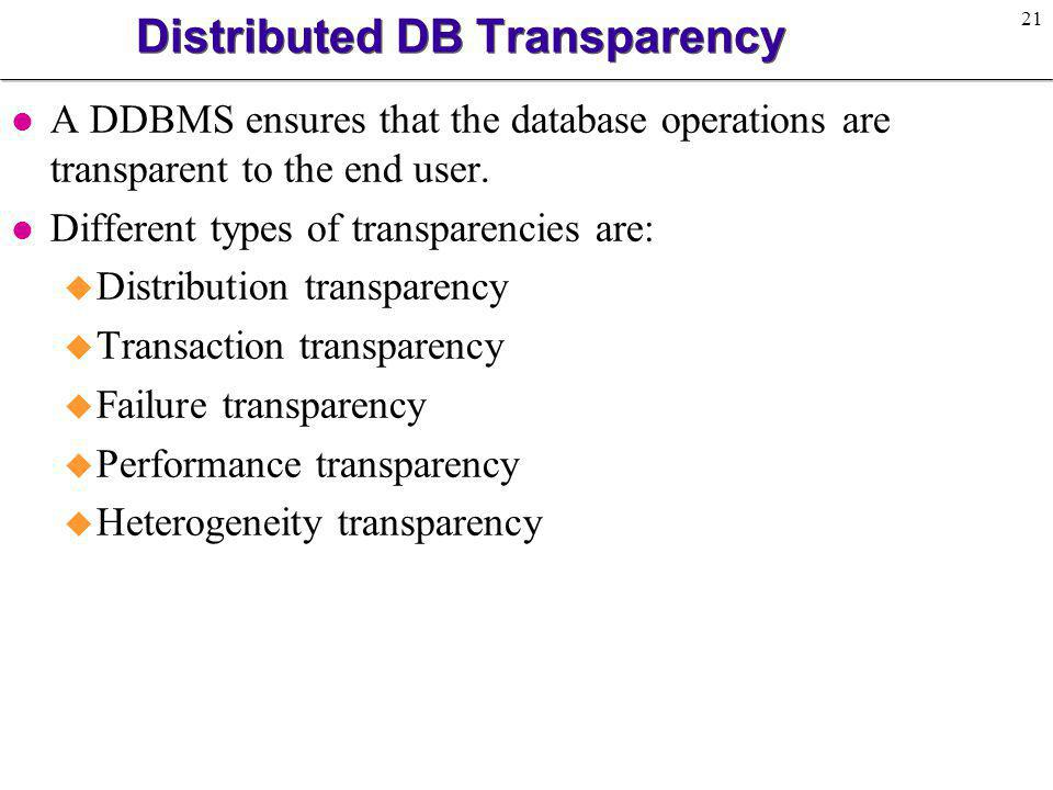 Distributed DB Transparency