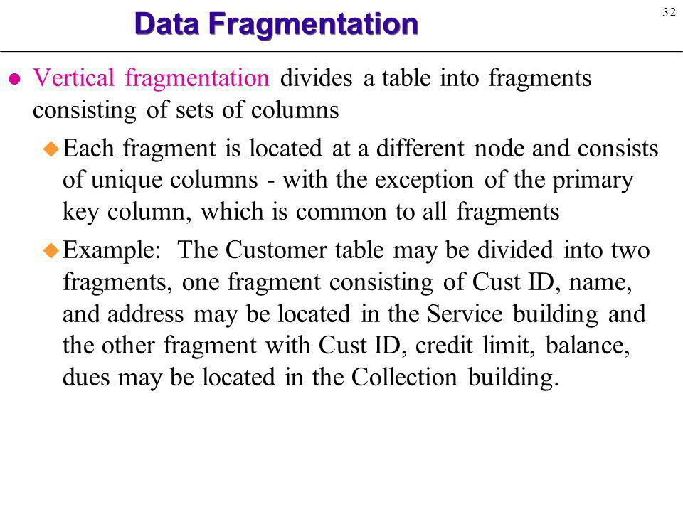 Data Fragmentation Vertical fragmentation divides a table into fragments consisting of sets of columns.