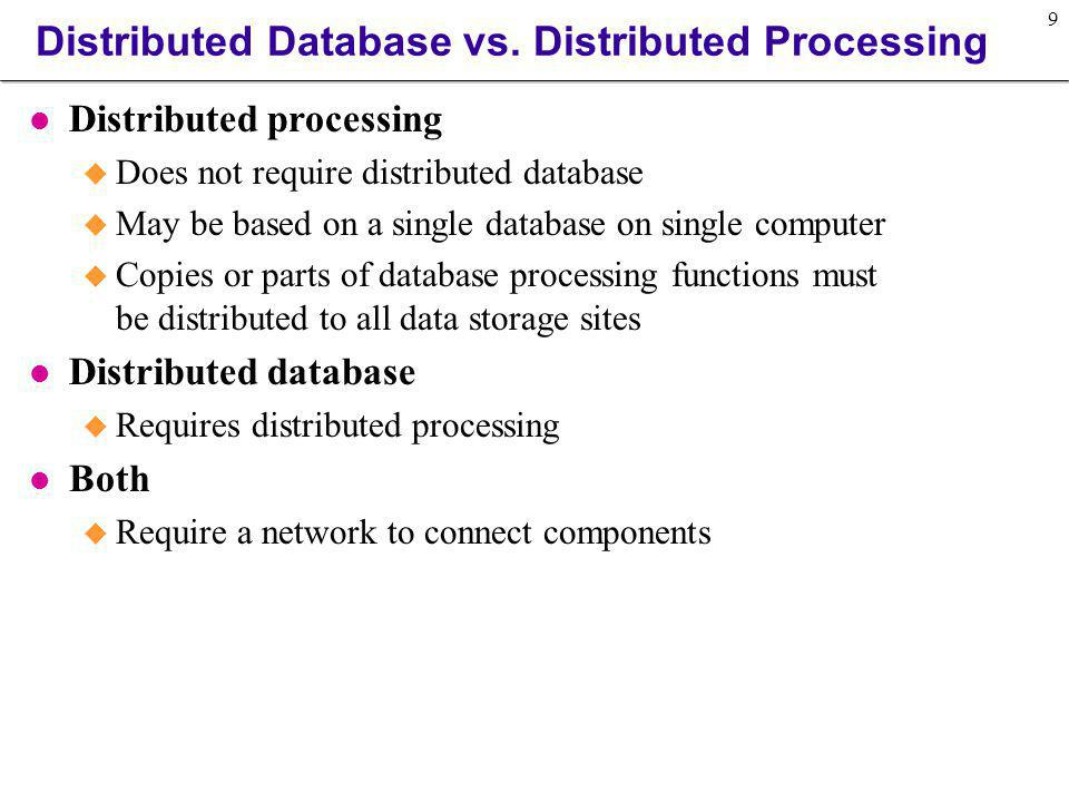 Distributed Database vs. Distributed Processing