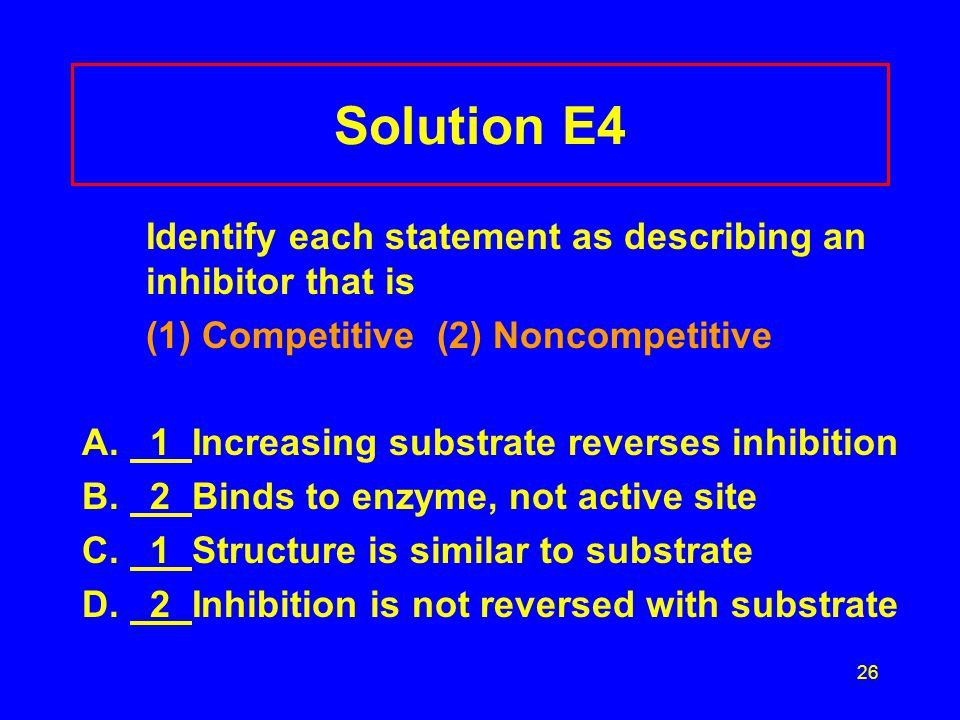 Solution E4 Identify each statement as describing an inhibitor that is