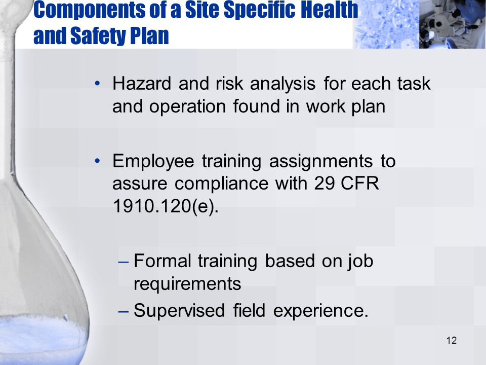 Components of a Site Specific Health and Safety Plan