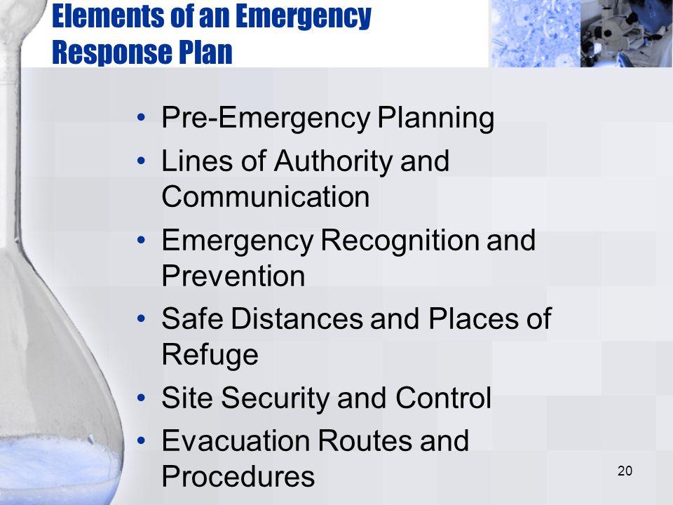 Elements of an Emergency Response Plan