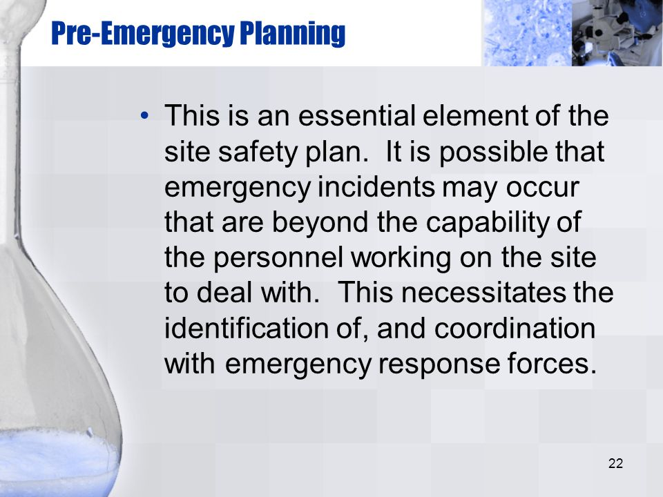 Pre-Emergency Planning
