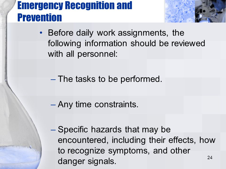 Emergency Recognition and Prevention