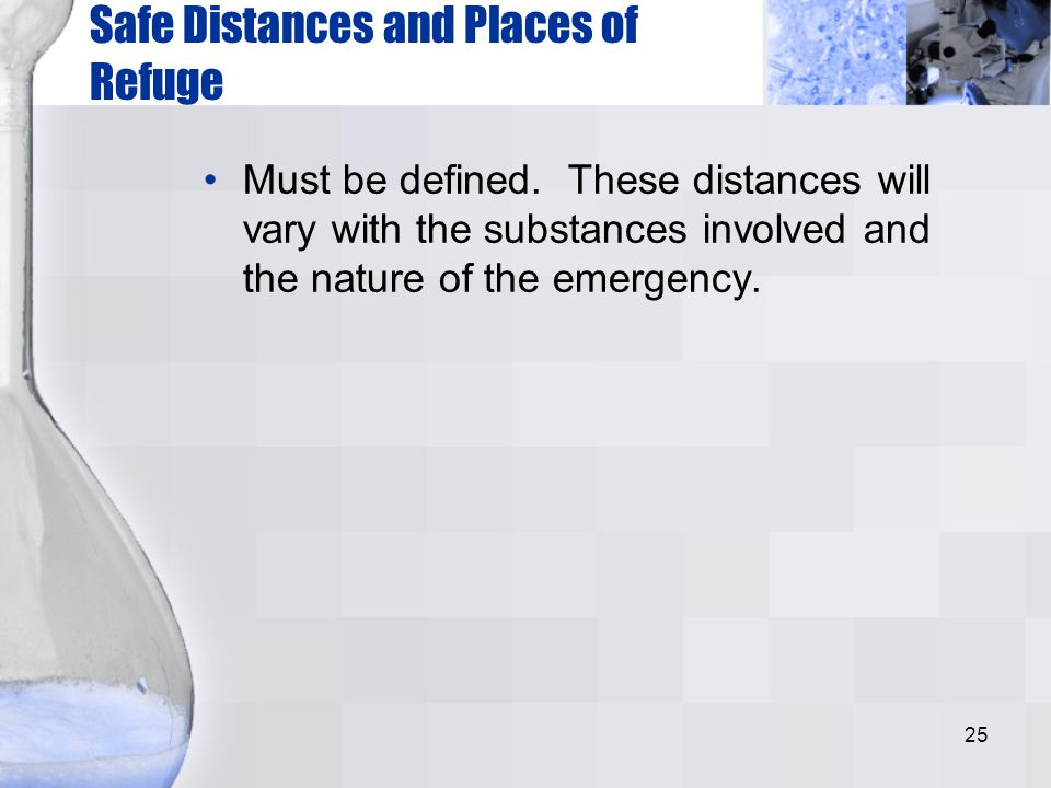 Safe Distances and Places of Refuge