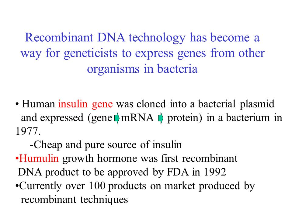 Recombinant DNA technology has become a way for geneticists to express genes from other organisms in bacteria