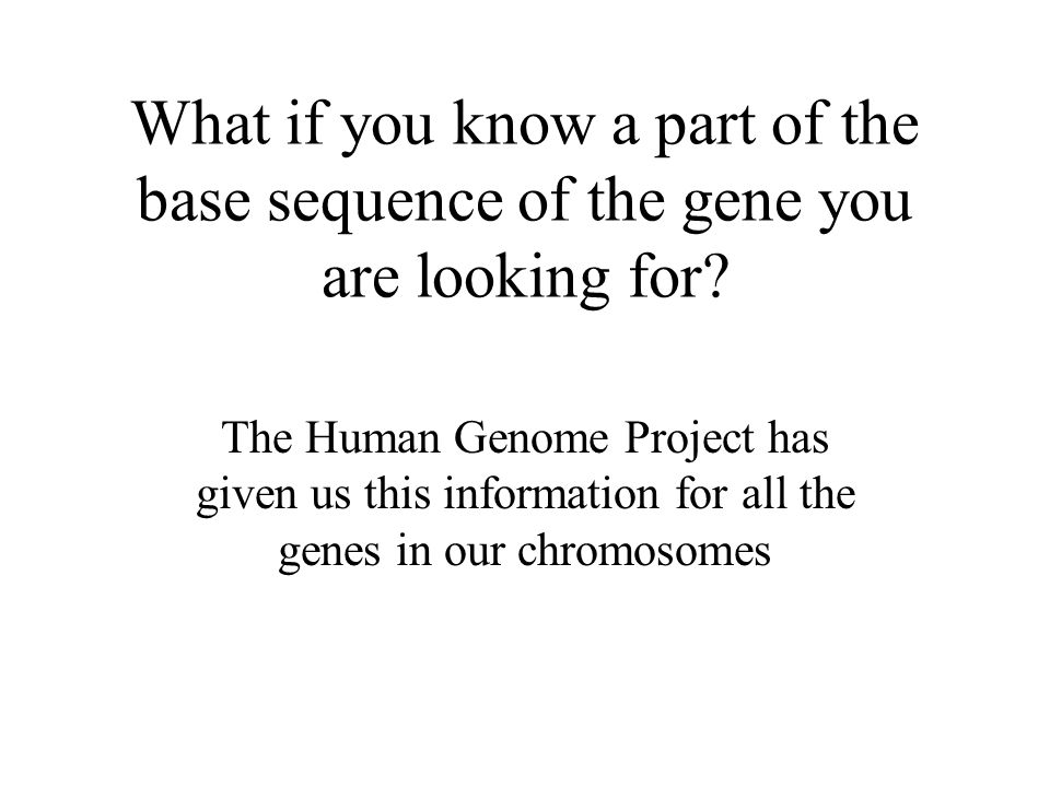 What if you know a part of the base sequence of the gene you are looking for