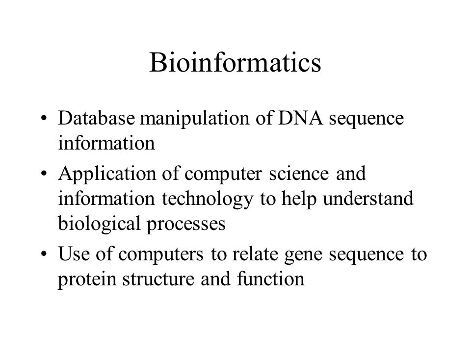 Bioinformatics Database manipulation of DNA sequence information