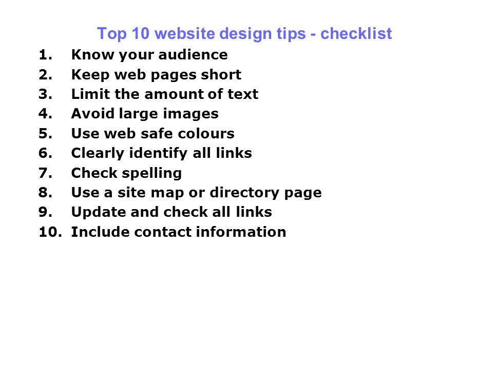 Top 10 website design tips - checklist
