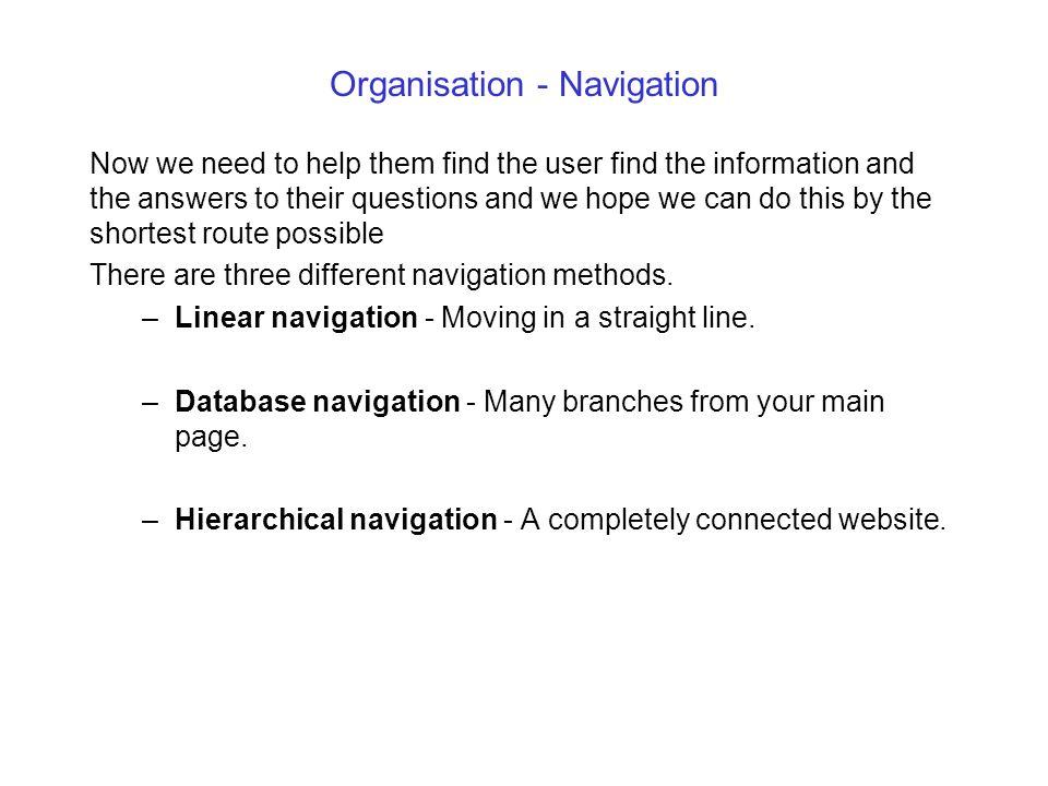 Organisation - Navigation