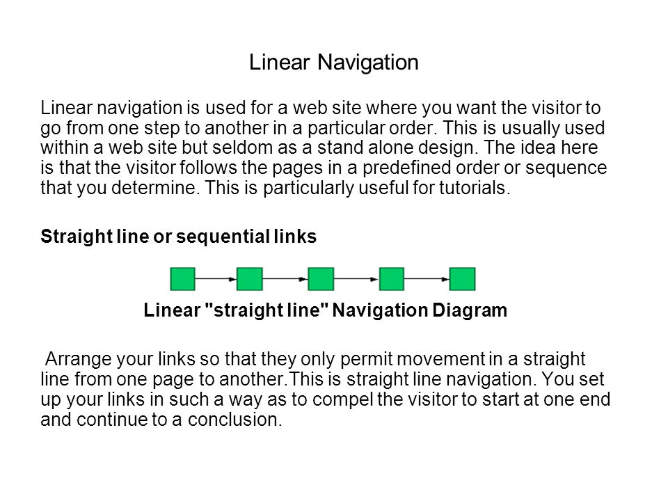 Linear straight line Navigation Diagram