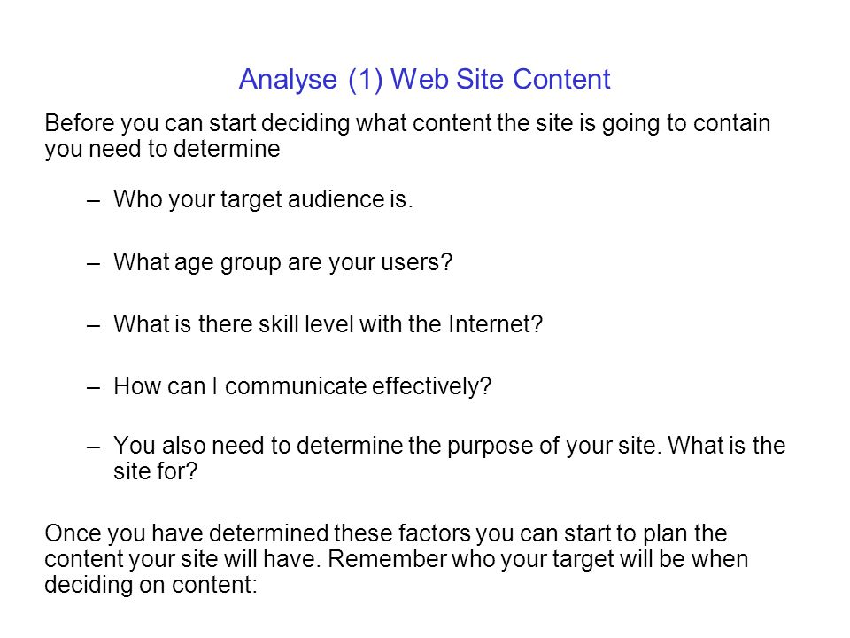 Analyse (1) Web Site Content