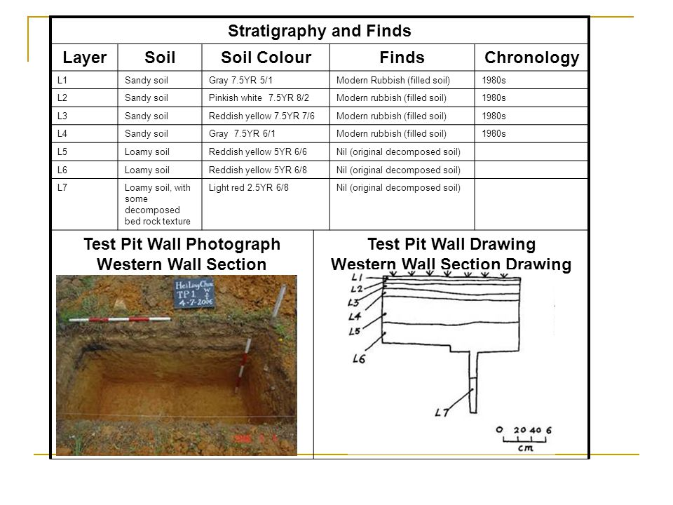Stratigraphy and Finds Western Wall Section Drawing