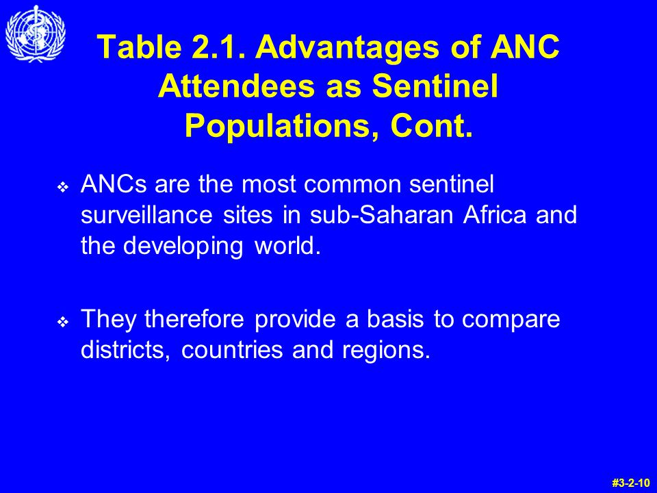 Table 2.1. Advantages of ANC Attendees as Sentinel Populations, Cont.