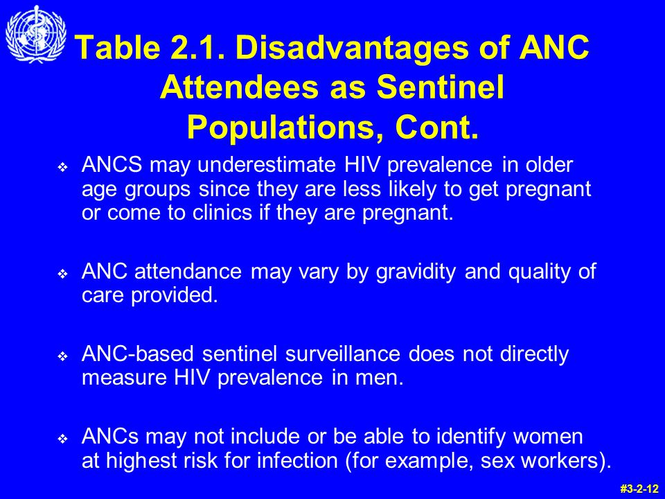 Table 2.1. Disadvantages of ANC Attendees as Sentinel Populations, Cont.