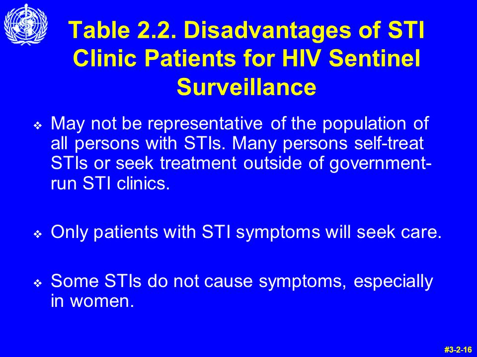 Table 2.2. Disadvantages of STI Clinic Patients for HIV Sentinel Surveillance