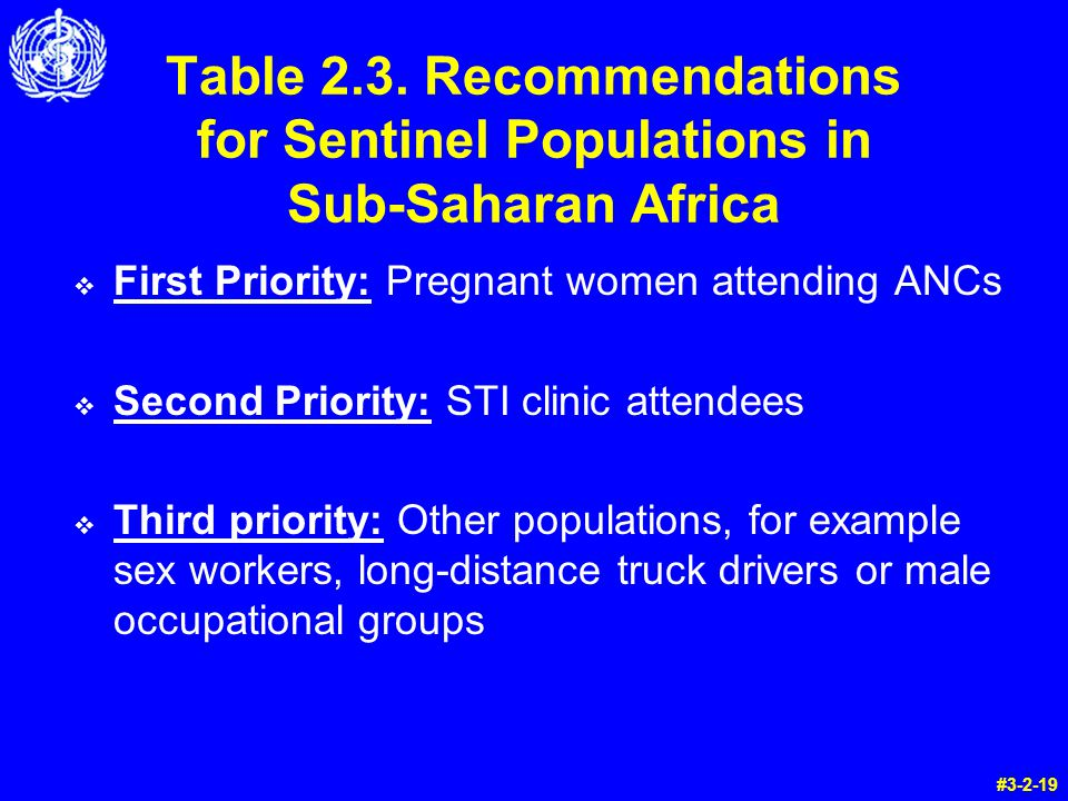 Table 2.3. Recommendations for Sentinel Populations in Sub-Saharan Africa