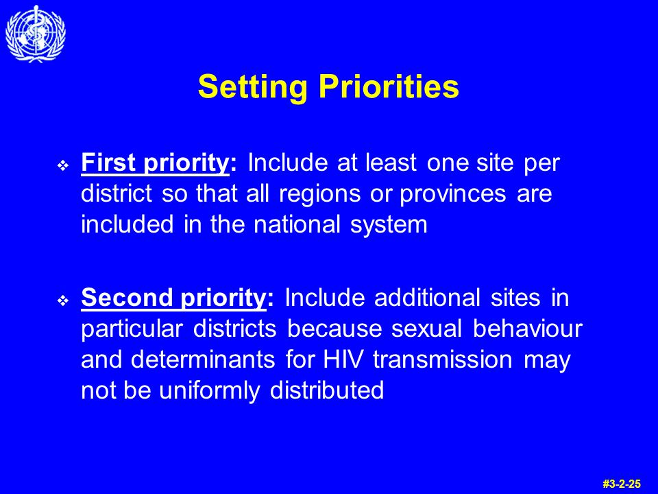 Setting Priorities First priority: Include at least one site per district so that all regions or provinces are included in the national system.