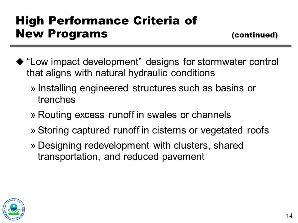 High Performance Criteria of New Programs (continued)