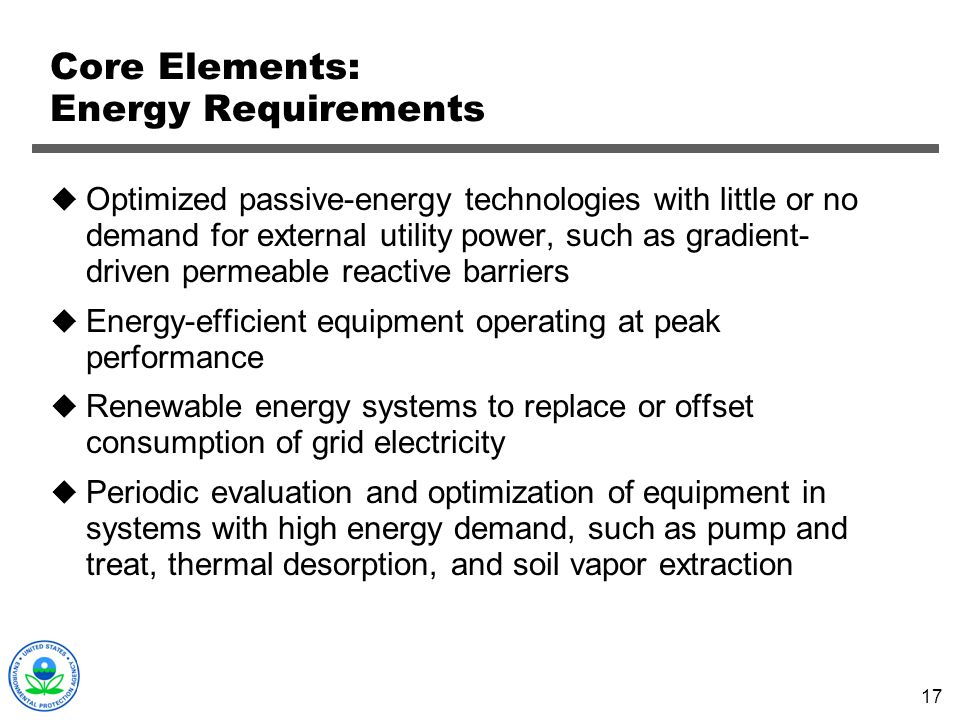 Core Elements: Energy Requirements