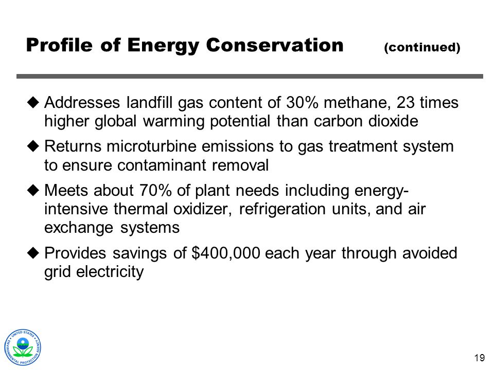 Profile of Energy Conservation (continued)