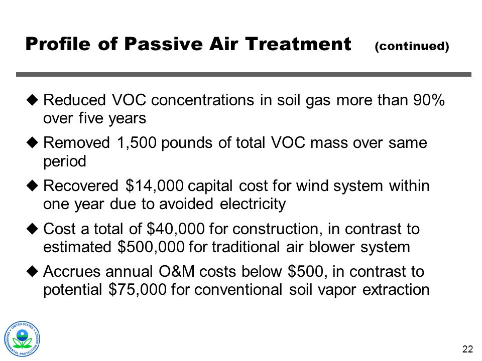 Profile of Passive Air Treatment (continued)