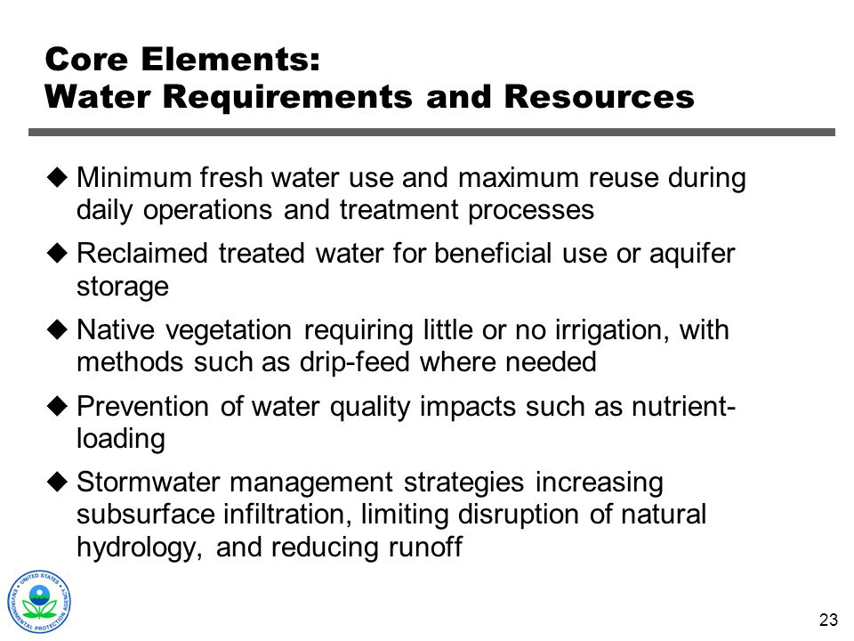 Core Elements: Water Requirements and Resources