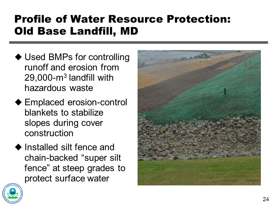 Profile of Water Resource Protection: Old Base Landfill, MD