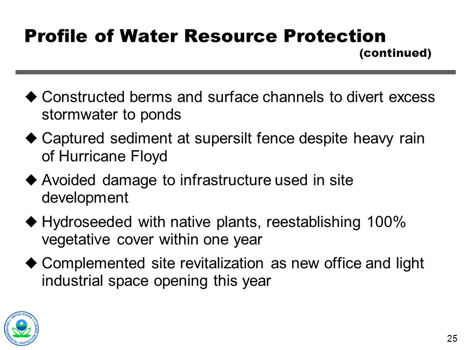 Profile of Water Resource Protection (continued)