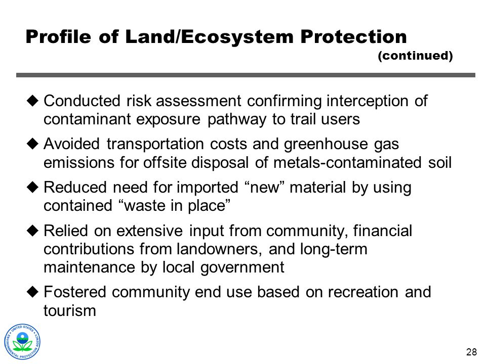 Profile of Land/Ecosystem Protection (continued)