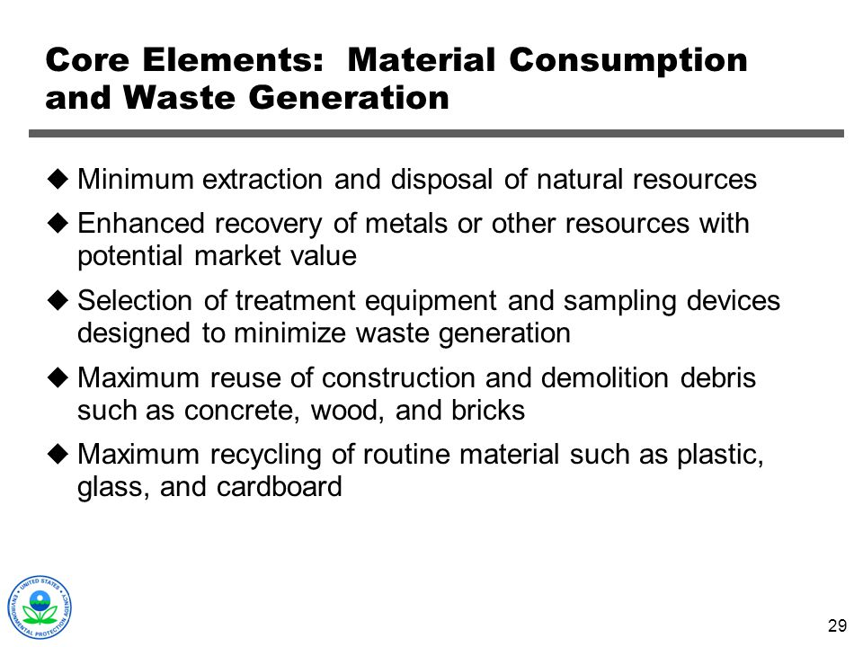 Core Elements: Material Consumption and Waste Generation