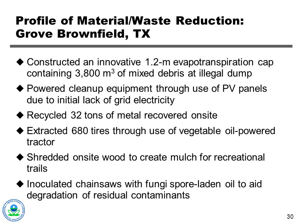 Profile of Material/Waste Reduction: Grove Brownfield, TX