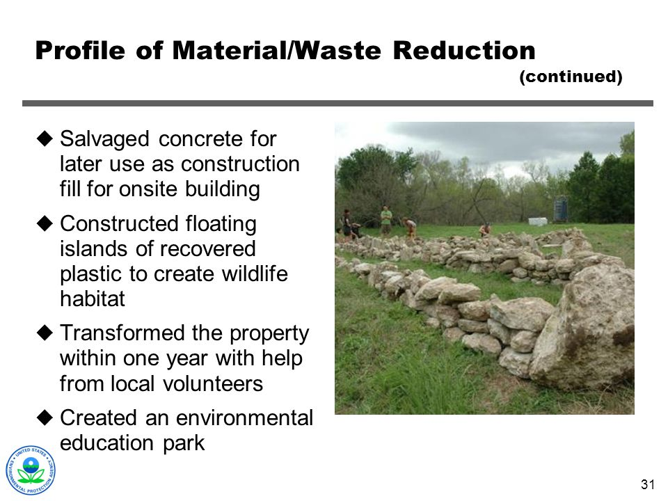 Profile of Material/Waste Reduction (continued)