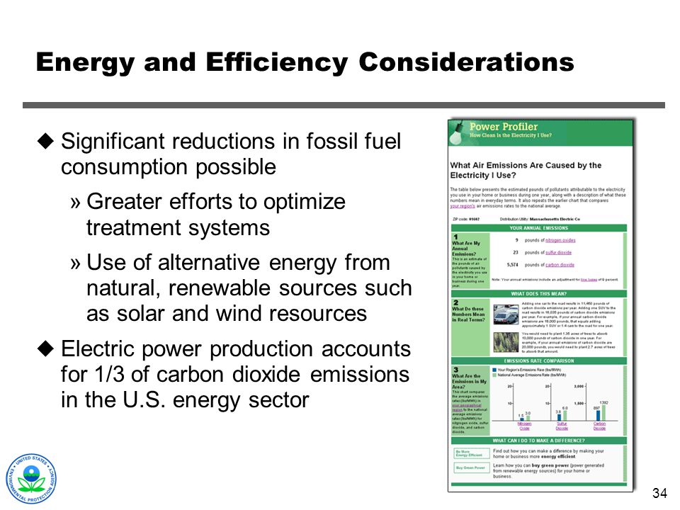 Energy and Efficiency Considerations
