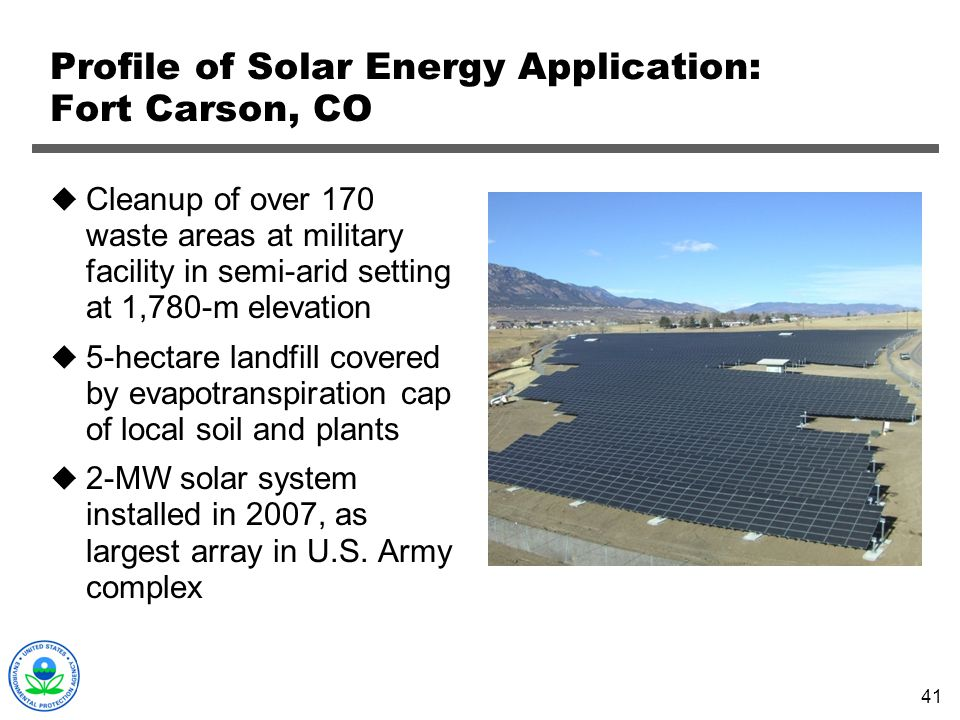 Profile of Solar Energy Application: Fort Carson, CO