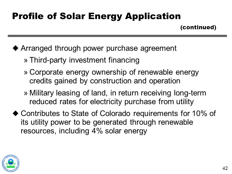 Profile of Solar Energy Application (continued)