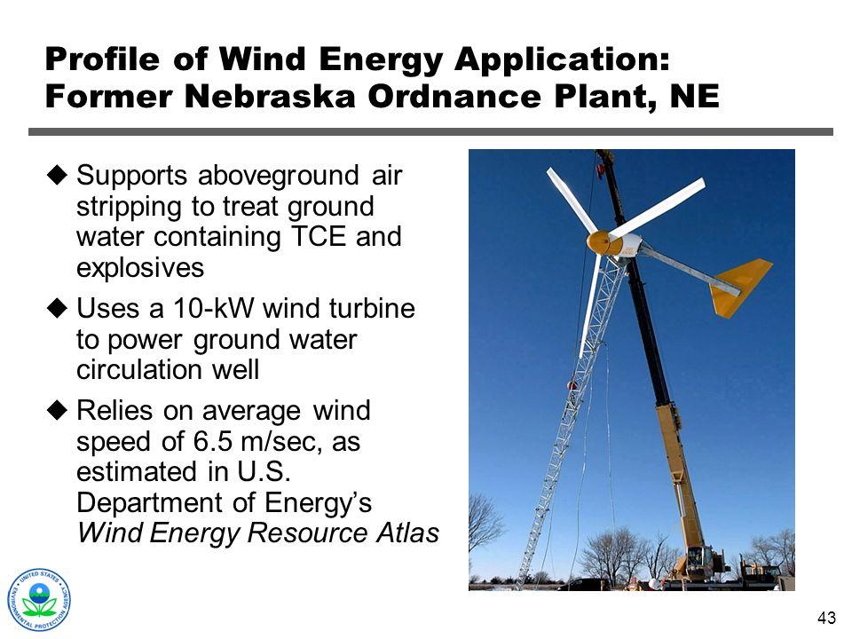 Profile of Wind Energy Application: Former Nebraska Ordnance Plant, NE
