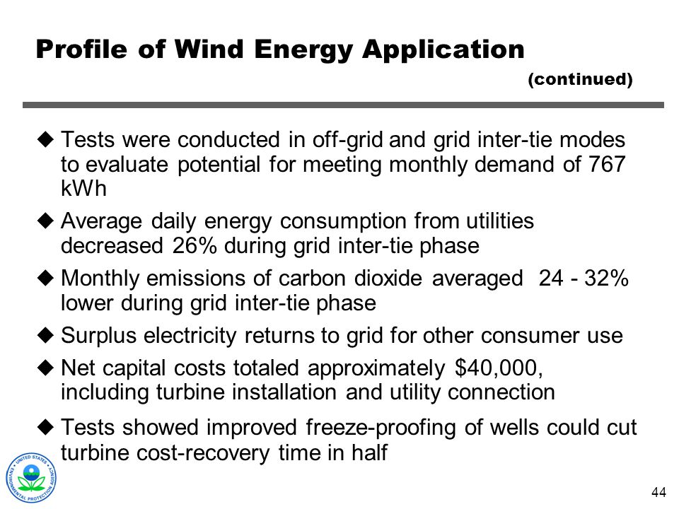 Profile of Wind Energy Application (continued)