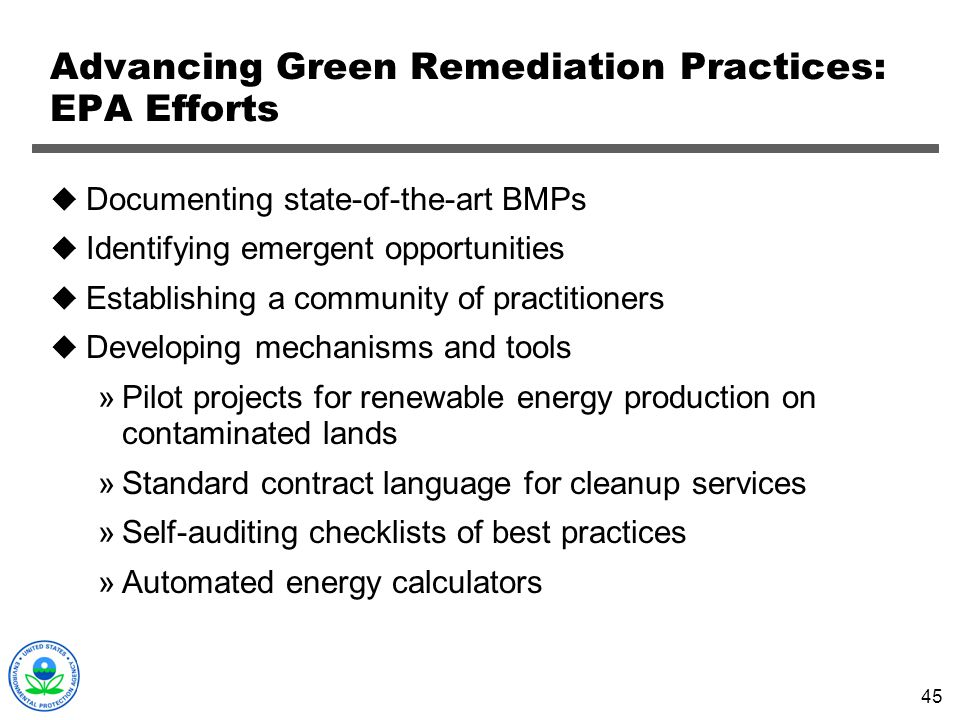 Advancing Green Remediation Practices: EPA Efforts