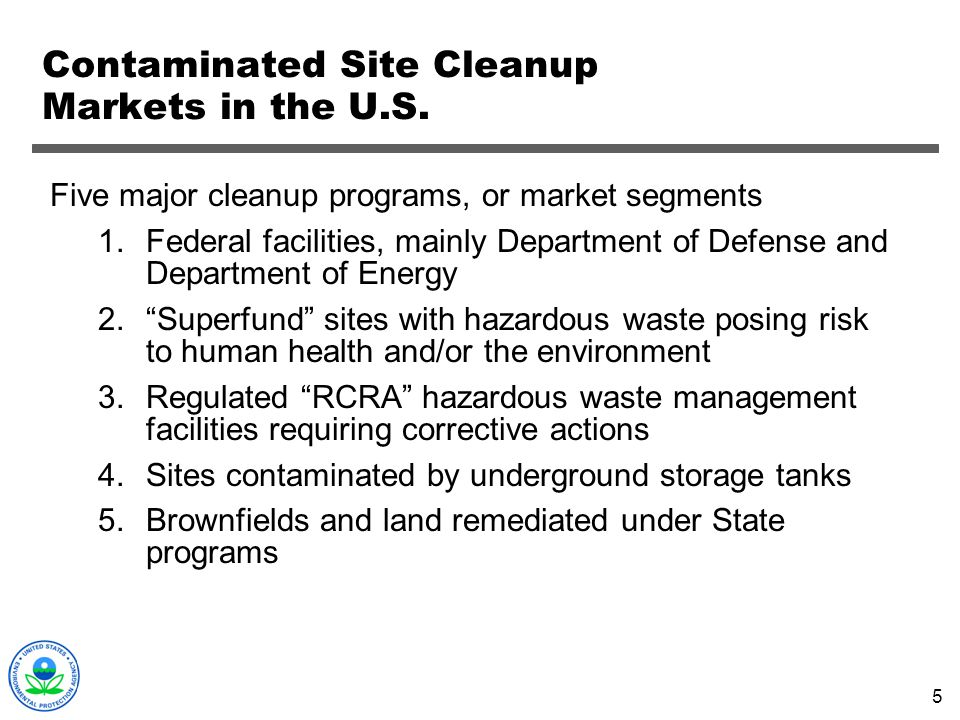 Contaminated Site Cleanup Markets in the U.S.