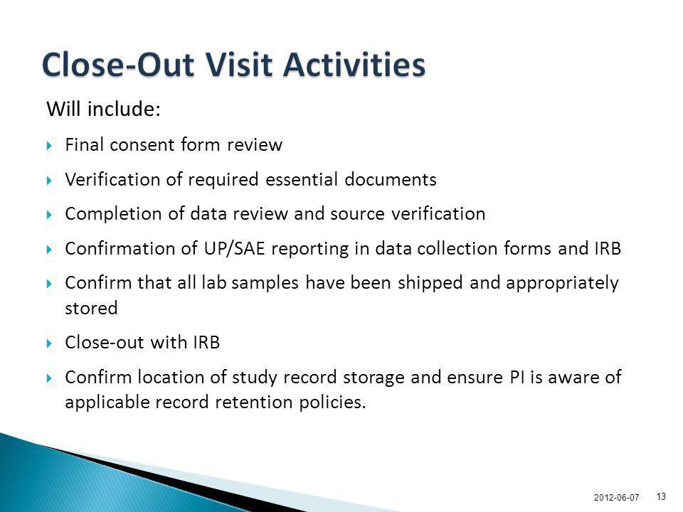 Close-Out Visit Activities