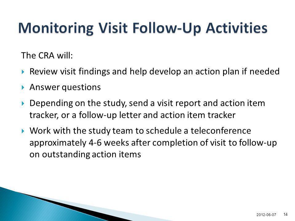Monitoring Visit Follow-Up Activities