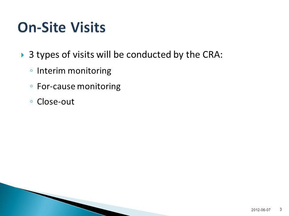 On-Site Visits 3 types of visits will be conducted by the CRA: